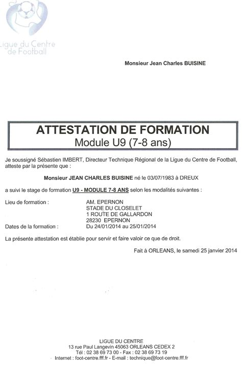 Attestation De Stage Lettre Type Attestation De Stage Amicale Sportive D Anet