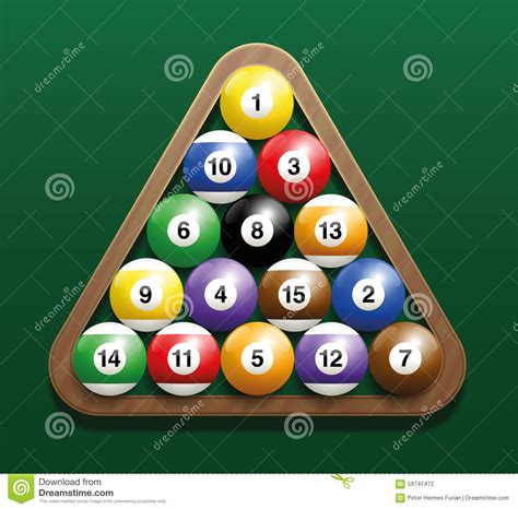 How Do U Rack Pool Balls by Pool Billiard Balls Rack Starting Position Stock Vector