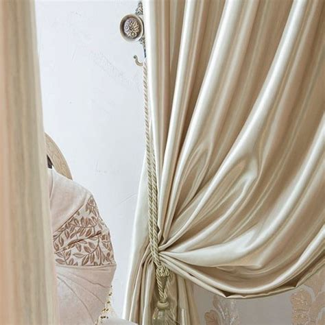 satin drapes high end fashionable chagne gold satin living room