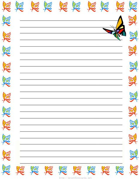 printable paper with lines and borders butterflies free printable stationery for kids regular