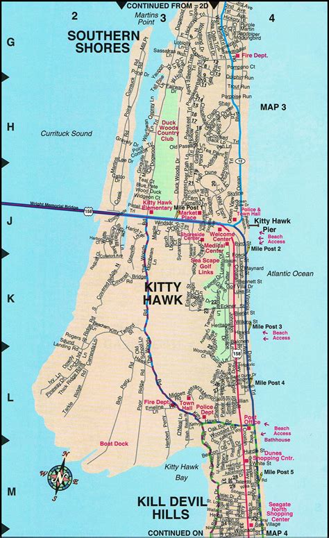 map of carolina outer banks hawk map outer banks nc maps