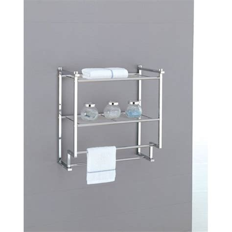 Towel Shelves For Bathrooms Wall Mounted Towel Rack Holder Hotel Bathroom Storage Shelf Bar Chrome New Ebay
