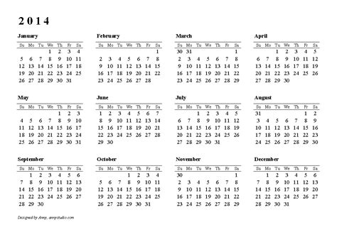 2014 Calendar Template Uk 2014 calendar uk printable