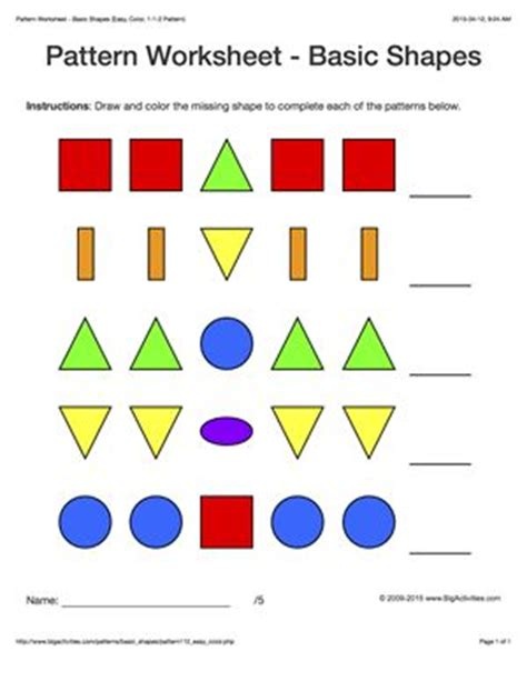 patterns with basic shapes free worksheets 187 simple pattern worksheets with shapes