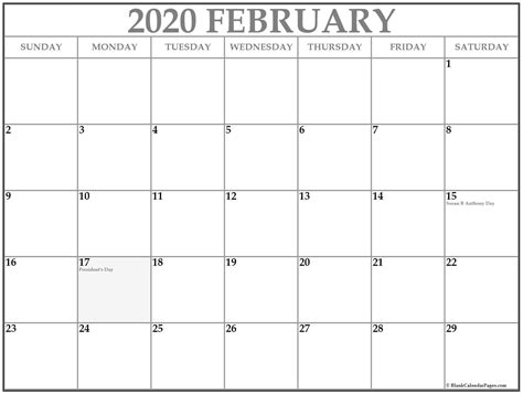 collection  february  calendars  holidays