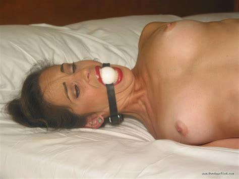 Brunette Milf Katrina Ballerina Tied Naked On Bed 35