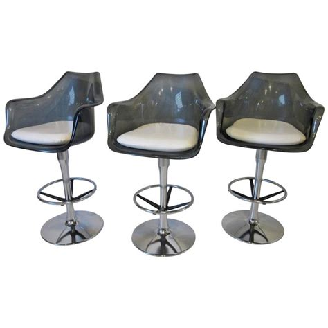 lucite bar stools for sale smoked lucite and chrome swiveling bar stools for sale at