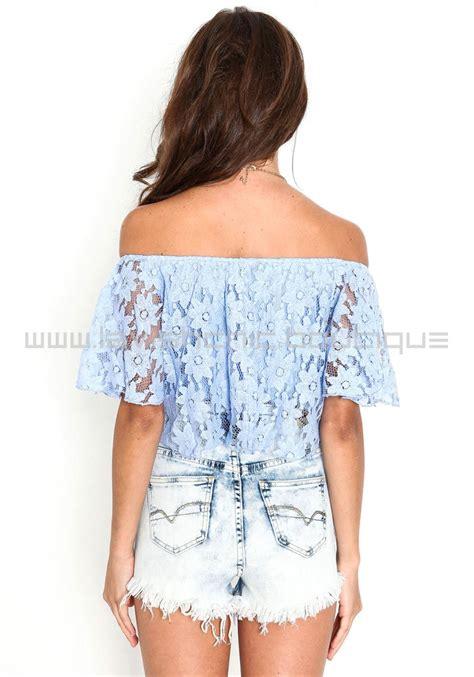 light blue off the shoulder top light blue off the shoulder floral lace crop top