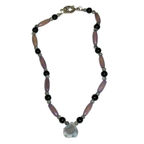 beaded necklaces mens s grey black and greyish purple beaded necklace