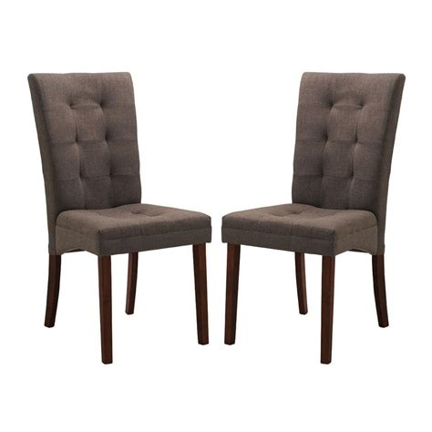 Brown Upholstered Dining Chairs Baxton Studio Brown Fabric Upholstered Dining Chairs Set Of 2 2pc 3939 Hd The Home Depot