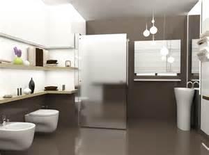 ordinario Ristrutturazione Bagno Idee #1: idee-per-arredare-il-bagno-con-il-pavimento-e-le-pareti-sono-di-colore-marrone-scuro-mentre-gli-accessori-bagno-bianco-evocano-limpressione-di-lusso-ed-eleganza.jpg