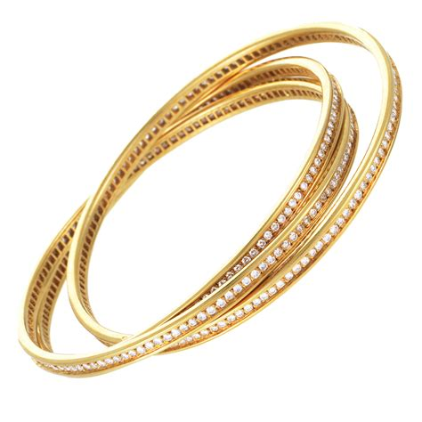 cartier pave bracelet cartier womens 18k yellow gold pave rolling bangle