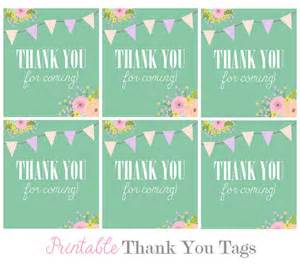 Thank You For Coming To My Template by Favor Tags Digital Floral Teal Bunting Thank You Tags For