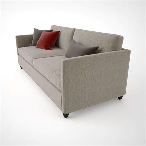 barrel couch crate and barrel dryden apartment sofa 3d model max obj