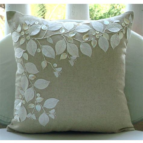 Handmade Cushion Cover - handmade ecru cushion covers rail of leaves of pearls