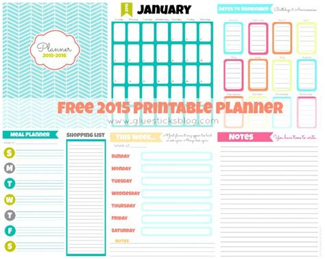 free printable weekly planner pages 2015 free printable 2015 planner gluesticks