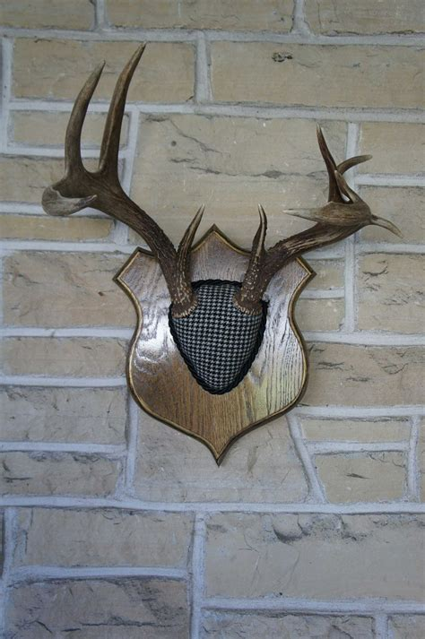 deer antlers and plaid for christmas reserved for caryn hammond vintage deer antler mount plaid decor black white woodland