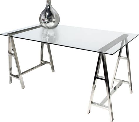Clear Top Desk by Deko Stainless Steel Desk With Clear Tempered Glass Top