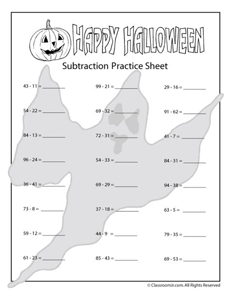 printable halloween math worksheets for 4th grade halloween addition and subtraction worksheets woo jr