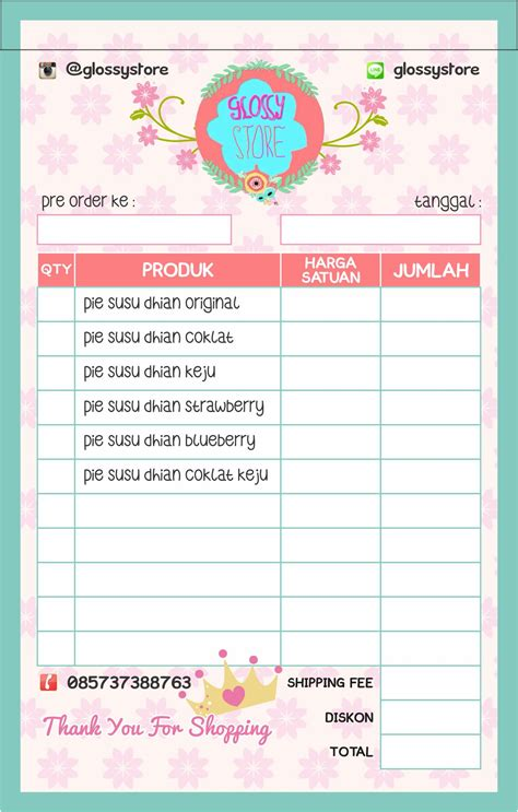 design nota refrensi desain nota invoice untuk online shop mu
