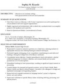 Academic Resume Objective by Functional Resume Exle Librarian In An Academic Setting