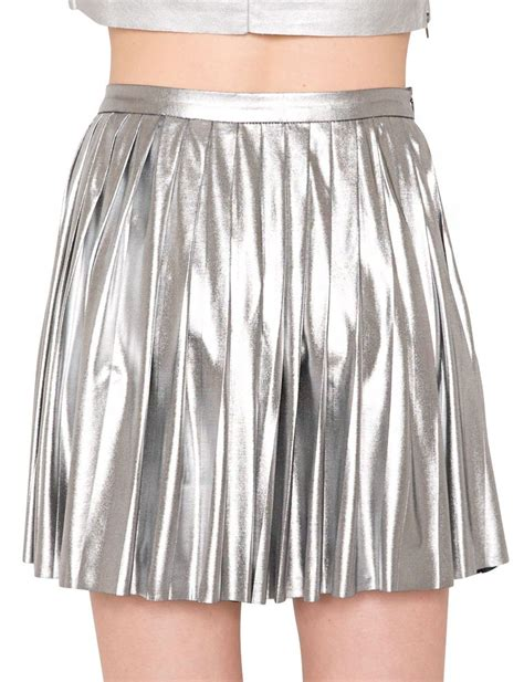 pixie market metallic pleated skirt in silver lyst