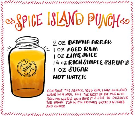 cocktail recipe cards template friday happy hour spice islands punch