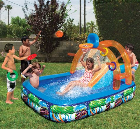 kids backyard pool inflatable water slide outdoor pool kids fun backyard play