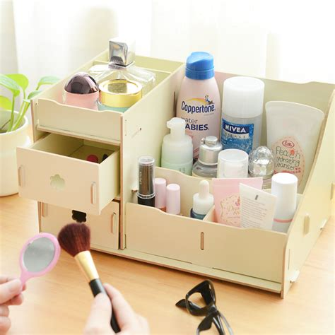Desk Makeup Organizer diy wooden storage box desk organizer for cosmetics