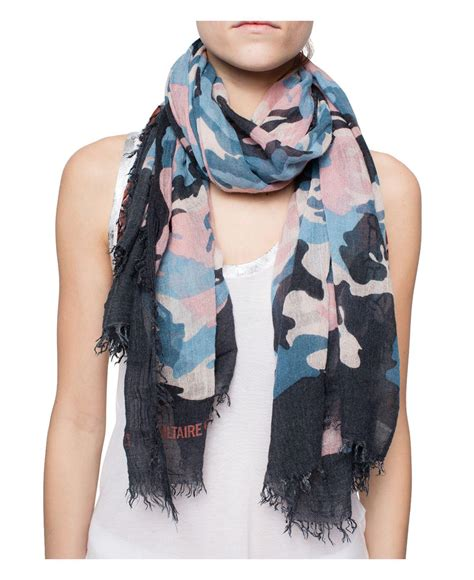 where to buy tattoo camo in canada lyst zadig voltaire delta camouflage tattoo scarf in blue