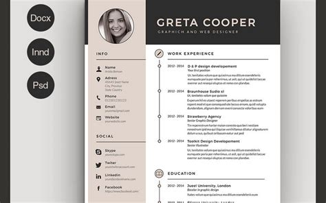 free resume templates indesign cs5 50 best cv resume templates of 2018 design shack