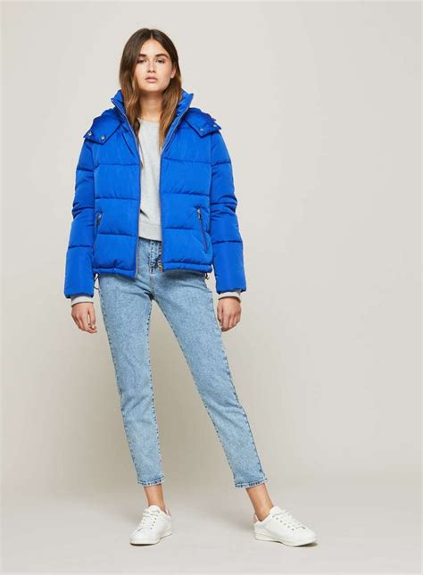 Outwear Jaket Sweater Hoodie Wanita Blue blue oversized hooded puffer jacket coats jackets clothing miss selfridge europe