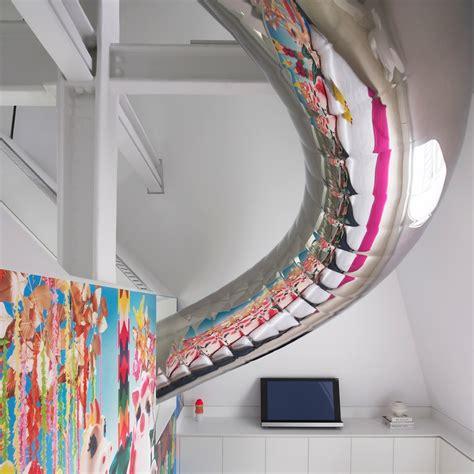 slide in bedroom apartment design with childlike house slide for sliding