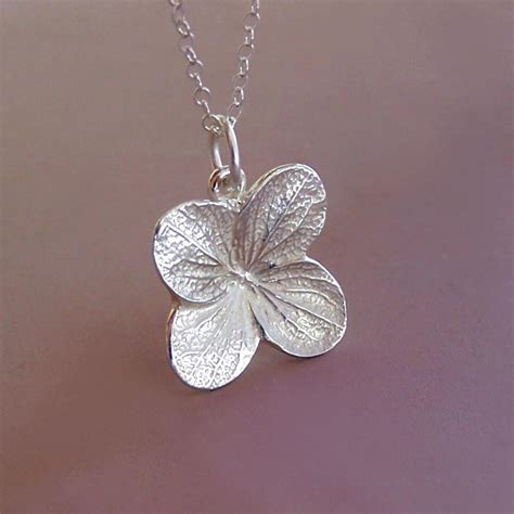 sterling silver flower necklace hydrangea bright