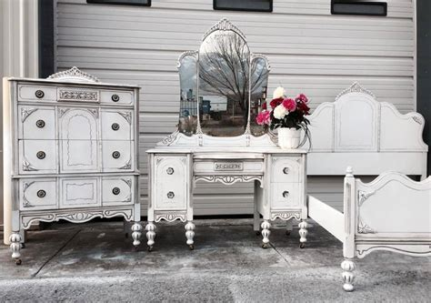 bedroom furniture set in snow white milk paint and brown glaze general finishes