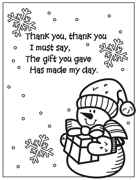 thank you coloring page free snowman coloring page thank you poem