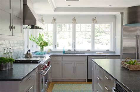 Grey Kitchen Cabinets With Black Countertops by Light Grey Kitchen Cabinets Contemporary Kitchen