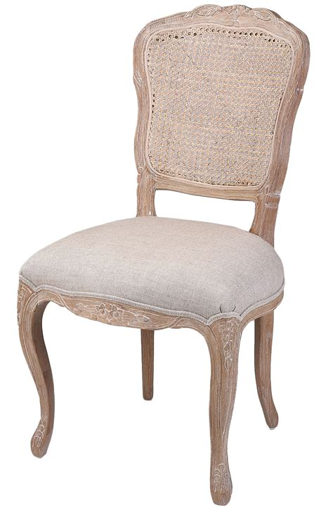 french country linen dining chair  rattan