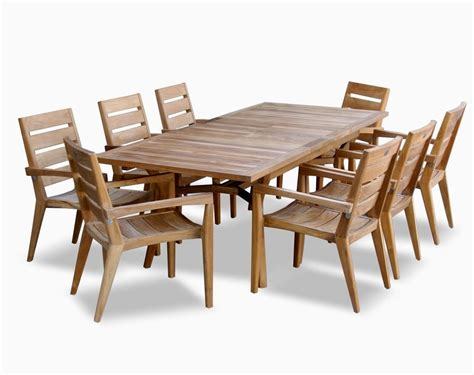 teak outdoor dining table set olga collection