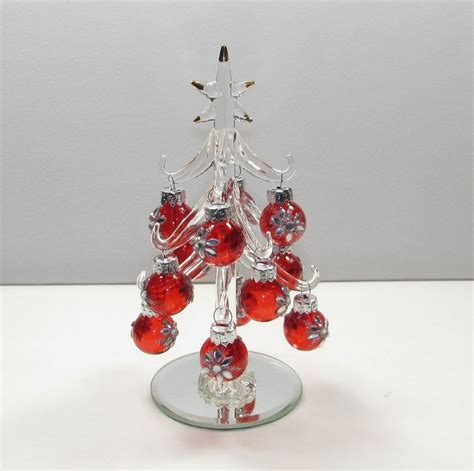 miniature clear crystal glass christmas tree w red