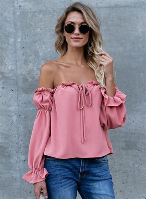 Sleeve Ruffle Chiffon Blouse fashion shoulder sleeve ruffle chiffon blouse