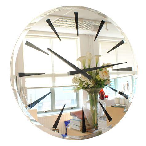 modern decorative wall mirrors freeiam roco verre bevelled mirror wall clock chevron