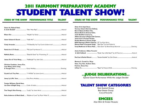 Talent Show Program Template Online Calendar Templates School Program Template