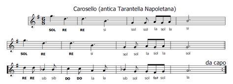 tarantella napoletana testo musica e spartiti gratis per flauto dolce carosello la