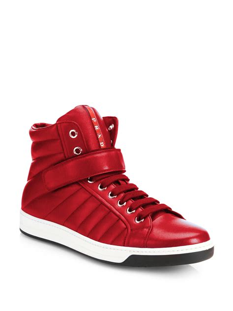 high top leather sneakers prada nappa leather high top sneakers in for lyst