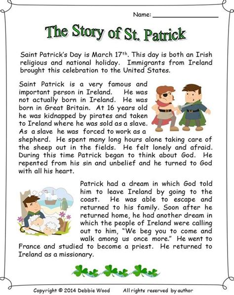 s day story the story of st reading 3 vocabulary worksheets