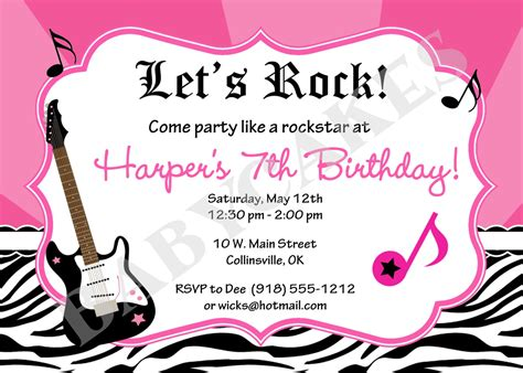 Free Printable Rockstar Birthday Invitations | 40th birthday ideas free rock star birthday invitation