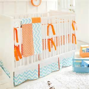 orange baby bedding blue and orange crib bedding in nursery