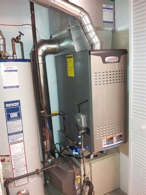lennox downflow 2 stage furnace bypass humidifier and uv disinfecting light installed in