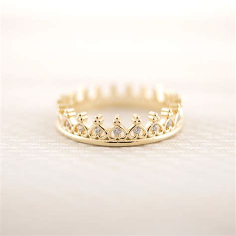 gold silver pink gold cz crown ring by bkandjio on etsy